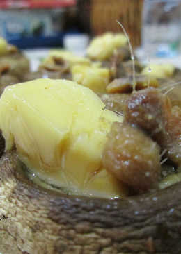 Champiñones con quesitos y anchoas