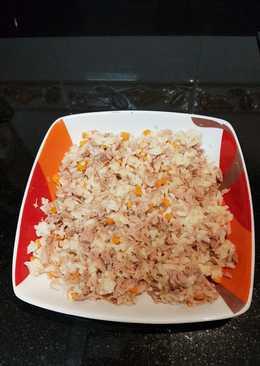 Arroz con zanahoria y atún