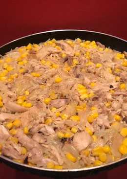 Arroz con pollo y maíz