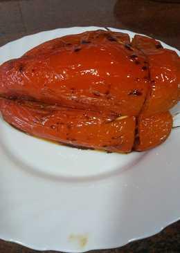 Pimiento rojo relleno de arroz