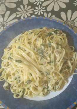 Spaguettis con espinacas y jamón