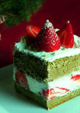 pastel navideo de fresa con t matcha