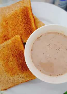 Desayuno de quaker con leche y cocoa de quillabamba