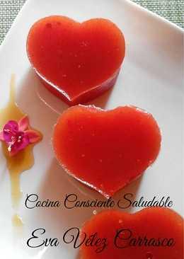 Corazones de gelatina de sandía