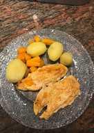 Patatas guarnición hervidas con zanahoria y pollo plancha(Apto diabéticos)