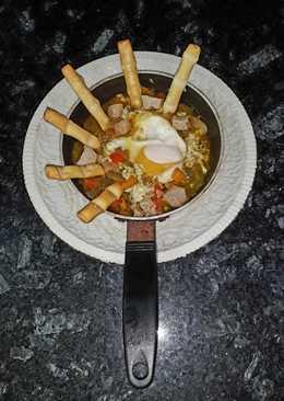 Huevo escaldado en pimientonada con paté de canard