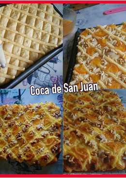 Coca de San Juan de Naranja confitada, crema pastelera y piñones