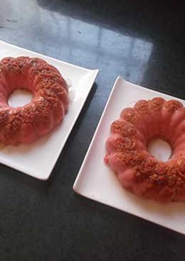 Roscas de flan de arroz rojo