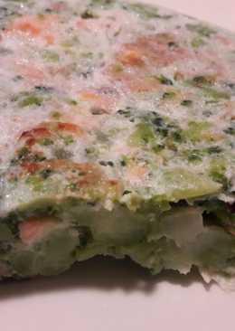 Hoy receta de aprovechamiento. Tortilla de brócoli, salmón y atún con claras de huevo