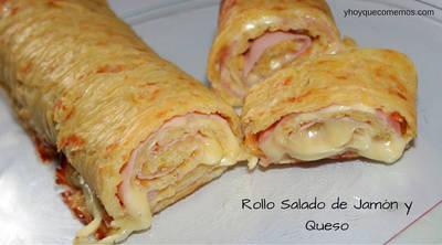 Rollo salado de jamón y queso
