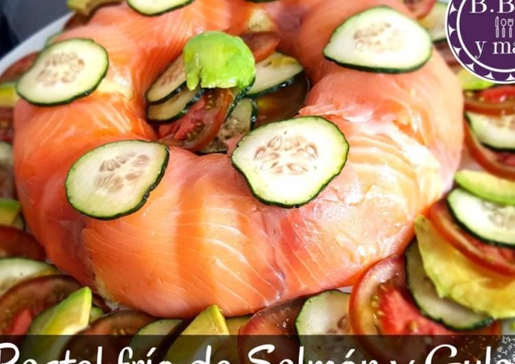 Pastel frío de salmón y gulas B.B.B
