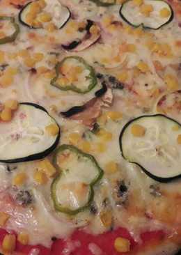 Pizza vegetal con 2 quesos en thermomix