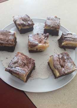 Brownie con cheesecake y dulce de leche