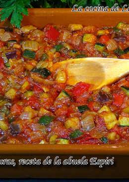 Pisto de verduras, receta de la abuela Espiri (Fritada de verduras)
