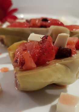 Alcachofas al vapor con queso fresco y vinagreta de fresas!!!