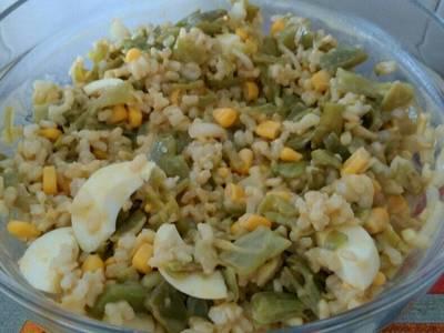 Ensalada judías verdes y arroz