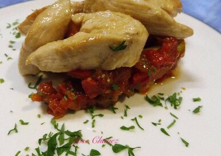 Pollo adobado en cítricos con sinfonía de verduras