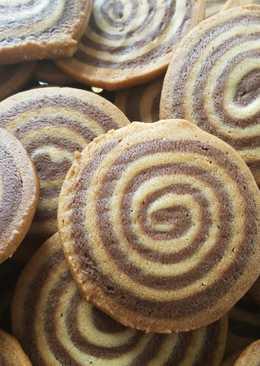 Galletas de espiral de vainilla y chocolate