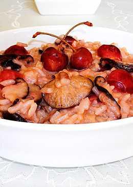 Pilaf cremosocon cerezas y setas shiitake