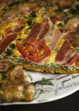 Tarta salada de kale, calabaza y bacon