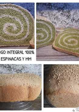 Pan 100% trigo integral con espinacas (en panificadora)