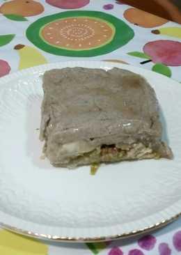 Lasaña de berenjenas con carne y bechamel de setas