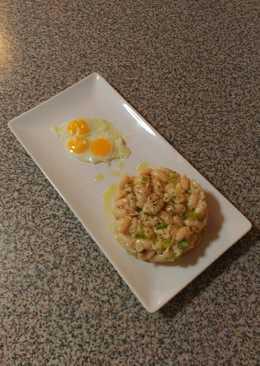 Ensalada de alubias blancas con pollo y ajetes