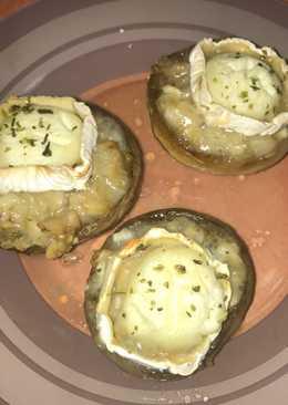 Champiñones al horno con queso de cabra