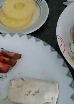 Berberechos, merluza y piña (menú saludable 4)
