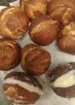 Bolitas de fraile rellenas de dulce de leche y crema pastelera