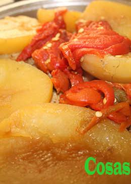 Pollo con patatas y pimientos