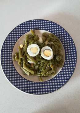 Judías verdes rehogadas con ajitos y huevo duro (Olla Gm g)