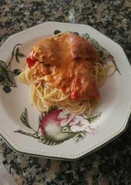 Spaghetti con pimientos del piquillo relleno