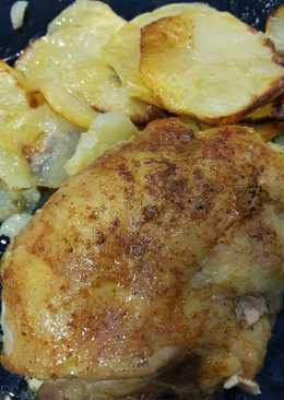 Rollos de muslo de pollo asado al ras al hanut