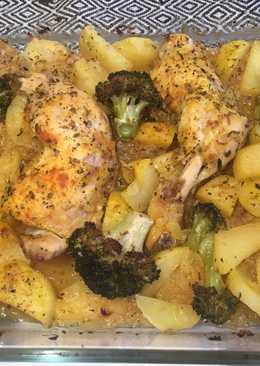 Brócoli con pollo al horno