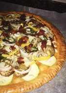 Pizza de hojaldre con verduras y jamón🍕