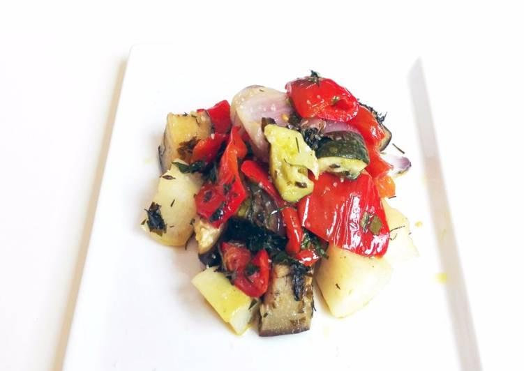 Verduras tranquilas al horno con especias