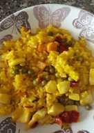 Arroz con choco y verduras