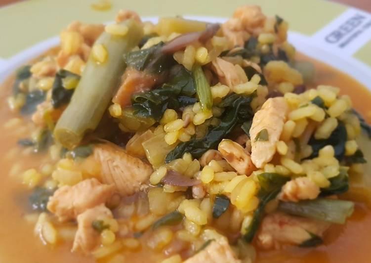 Arroz Caldoso Con Setas Y Pollo arroz meloso de pollo, espinacas, setas y ajos tiernos receta de ri