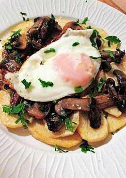 Huevo con patatas y champiñones - fácil