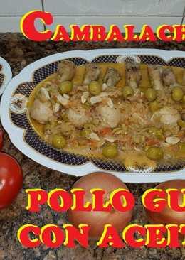 Muslos de pollo guisados con la aceitunas