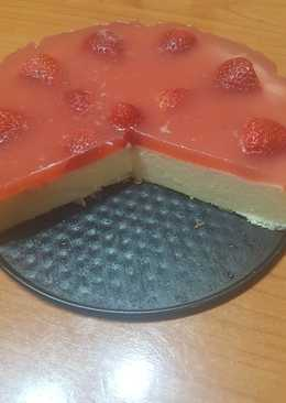 Tarta de queso con cobertura de fresa
