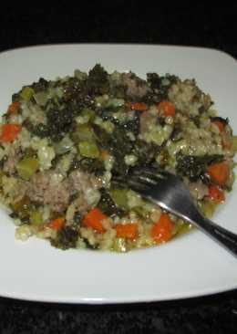 Carne picada con col kale y arroz