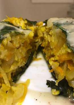 Arrolladitos de espinaca y arroz integral