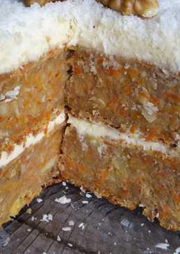 Tarta de zanahoria con piña, coco y nueces