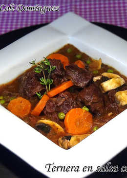 Ternera en salsa con verduras en olla exprés rápida