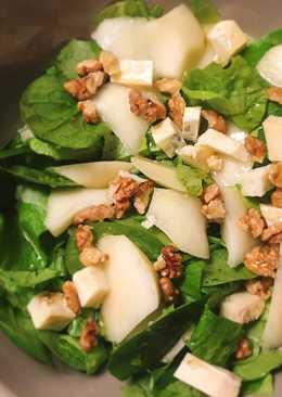 Ensalada de espinacas con pera, gorgonzola y miel
