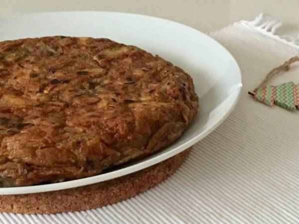 Tortilla de alcachofas y ajetes, tortilla de invierno ❄️🍳🥔