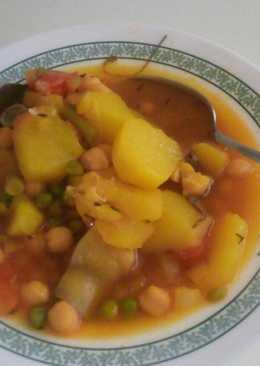 Potajito de garbanzos con pollo