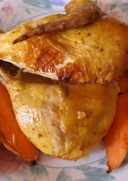 Pollo asado a cocción lenta con batatas